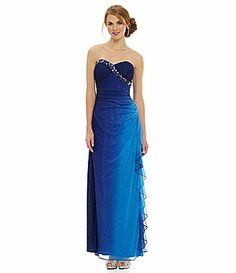 Blondie Nites Strapless Beaded Ombre Gown #Dillards