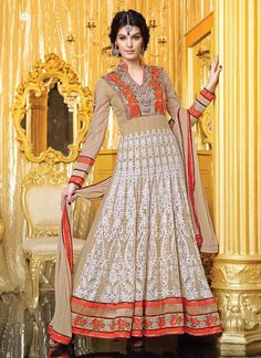Attractive Beige Net Ankle Length Anarkali Suit