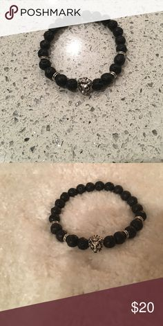 The lion's den Handmade stretchy bracelet for men. Made from lava stone. Accessories Jewelry