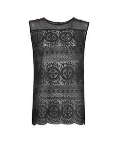 MANGO - Sleeveless embroidered top. loving the lightness and sheer look despite being a dark color