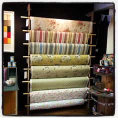 Lovely fabric display in my new shop!s & displays витрины м Shop Window Displays, Store Displays, Shop Front Design, Store Design, Fabric Display, Fabric Shop, Fabric House, Shop Plans, Craft Shop
