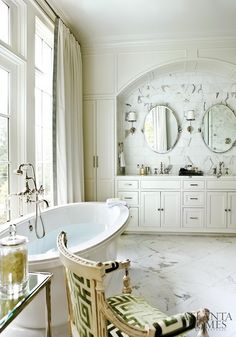 Design - Cabinetry Millwork - Marble   Just love this bathroom!  via Zsa Zsa