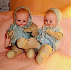 Pair of Mechanical German Key Wind Minerva Celluloid Head Baby Dolls
