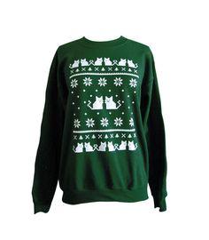 Cat Sweater Ugly Christmas Sweatshirt Unisex by theboldbanana