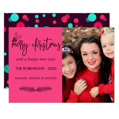 Pink turquoise and aubergine Christmas wish photo Card - New Year's Eve happy new year designs party celebration Saint Sylvester's Day