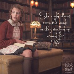 In this picture Liesel is in the library surrounded by books. The words in the books inspire her. The power and effect the words have on her are life changing.