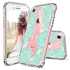 iPhone 7 Case, iPhone 7 Clear Case, MOSNOVO Floral Mint Rose Flower Clear Design Slim Transparent Plastic Hard with TPU Bumper Protective Back Phone Case Cover for Apple iPhone 7 (4.7 Inch)