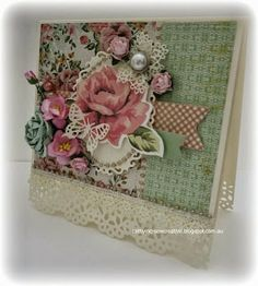 Kaisercraft ~ Tea Break Collection ~ Shabby Card and Box Scrapbooking, Scrapbook Cards, Pretty Cards, Cute Cards, Card Creator, Shabby Chic Cards, Cricut Cards, Crafty Projects, Card Tags