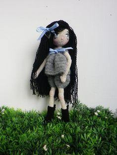 """Poupée crochet trés trés fin, """"O my doll"""" brune, yeux bleu de 19 cm, ma création, : Jeux, jouets par belette-noire"""