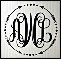Custom Vinyl Monogram Decal for Yeti Rambler Glass by AquaVinyl