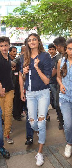 Athiya Shetty promoting 'Hero' at Usha Pravin Gandhi College of Management. #Bollywood #Hero #Fashion #Style #Beauty
