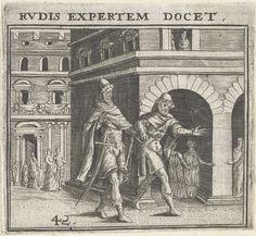 Theodor de Bry   Man leidt andere man rond in de stad, Theodor de Bry, Jean Jacques Boissard, 1596   Twee mannen lopen door een stad. De ene man houdt de hand van de andere vast en trekt hem een straat in.