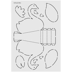 Laser-Design-Schablone aus stabilem Kunststoff, Din A4: Schwan-Box. Easy Crafts For Kids, Diy And Crafts, Arts And Crafts, Paper Crafts, Fabric Toys, Paper Toys, Box Patterns, Sewing Patterns, Spiritual Decor