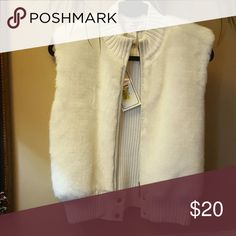 Gorgeous Faux Fur Vest Gorgeous cream faux fur vest with sweater back. Lisa International Sweaters Shrugs & Ponchos