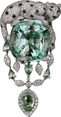 PANTHÈRE DE CARTIER BROOCH - Platinum, green beryl, green sapphires, emeralds, onyx, diamonds - The Cartier Étourdissant collection draws from light and shadow, creating a dazzling effect of vibrant colors with gentle and delicate hues.