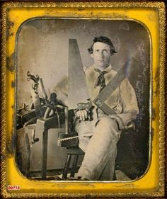 ca. 1850, [daguerreotype portrait of a carpenter/wood worker posed with tools] via the Daguerreian Society, Leonard A. Walle Collection