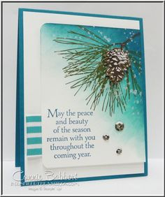 I used Stampin' Up!'s Ornamental Pine for Day 4 of PREVIEW WEEK over on Create with Connie and Mary! #stampinup, Frosted Sequins, pine branch, snow, Christmas card, Connie Babbert, www.inkspiredtreasures.com