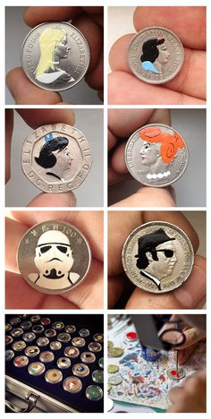 Painting coins - pop culture mini-portraits - Andrew Levy - Tales You Lose project #money_art