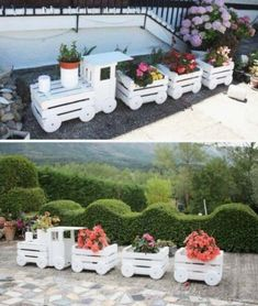, You will love this Wooden Train Garden Planter Made With Crates and it's an easy DIY you'll love to try. Check out all the ideas now and watch the vid. , Wooden Train Garden Planter Made With Crates Video Tutorial Wooden Garden Planters, Diy Planters, Pallet Planters, Gardening Supplies, Gardening Services, Garden Care, Garden Beds, Garden Crafts, Garden Projects