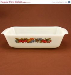 ON SALE Fire King Loaf Pan Natures Bounty Fruit Casserole Dish Anchor Hocking Glass Vtg