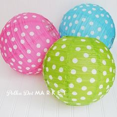 Polka dot lanterns...I want these! As I transition from nursery into toddler room these are perfect!