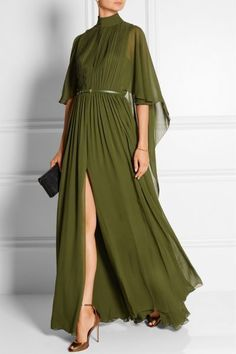 Elie Saab - Cape-effect silk-chiffon gown Dress Skirt, Dress Up, Draped Dress, Silk Skirt, Evening Dresses, Prom Dresses, Long Dresses, Outfit Trends, Maxi Dresses