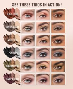 These pigment-packed eye shadow trios come with 3 perfectly coordinated shades you can use to create complete looks in a snap. These ultra-portable, mini eye palettes come in a range of wearable neutrals, curated color combinations and finishes. Each Nudie Pic trio was formulated to complement your skin tone and deliver an instantly contoured eye. The color-coordinated trios easily create day-to-night looks. | Available in a range of finishes and colors to create perfectly coordinated eye…