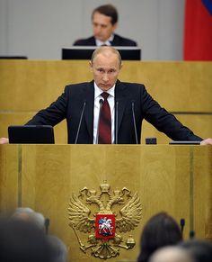 Председатель правительства России Владимир Путин на заседании Государственной думы России