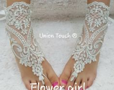 Free Ship Flower Girl Pink Lace Barefoot Sandals by UnionTouch