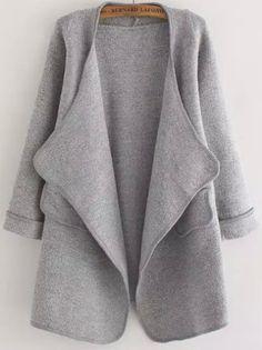 Cardigan avec poche décontracté -gris