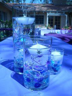 Wedding Centerpiece, Purple, Blue, Stars