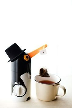 Simply set the timer depending on how strong you want your tea to be, and this adorable little guy will dip the tea in and out for you until it's done. Buy it here.