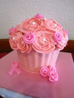 Giant Cupcake - Breast cancer awareness By Michelle27 on CakeCentral.com