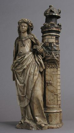 Saint Barbara School of Troyes. Date: 16th century Geography: Made in, Troyes, France Culture: French Medium: Marble, trace of polychromy and gilding Dimensions: Overall: 20 x 7 x 5 1/2in. (50.8 x 17.8 x 14cm) Classification: Sculpture