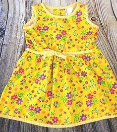 Vtg Hanna Andersson Baby Girl 80 18-24 M Yellow Floral Sundress 100% Cotton USA #HannaAndersson #Sundress #Casual