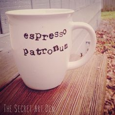 Coffee Mugs - for all Harry Potter fans: Espresso Patronum Stamped Coffee Mug Coffee Is Life, I Love Coffee, My Coffee, Coffee Shop, Coffee Cups, Coffee Art, Coffee Cup Sharpie, Espresso Coffee, Coffee Maker
