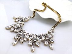 New Style - Retro Leaf Crystal Necklace, Floral Necklace, Bib Necklace, Statement Necklace, Wedding Necklace-Party Jewelry