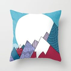 Blue Sky Mountains Throw Pillow