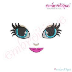Embroidery Designs Doodley Doll Face 21 - several sizes included - Embroitique - Sizes Included: Design Dimensions: x x x x x x Stitch Count: Thread Colors: 7 Monogram Alphabet, Monogram Fonts, Embroidery Files, Machine Embroidery Designs, Doll Face Paint, Create Name, Face Template, Clay Pot Crafts, Doll Eyes