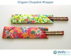 This is a guide about making an origami chopstick wrapper. Put your origami skills to use or try this project if you are a beginner, and make these pretty chopstick wrappers for a special occasion.