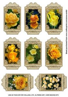 Floral Tags Yellow Roses on Craftsuprint designed by Aisne Smith - A sheet of 8 tags. Great for use as gift tags or in projects such as collage, ATC, altered art, card making etc. - Now available for download!