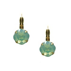 Swarovski crystal center stone in Pacific Opal is set in antiqued brass with gold filled European ear wires. Liz Palacios, Antique Brass, Swarovski Crystals, All About Time, Opal, Stone, Antiques, Earrings, Silver