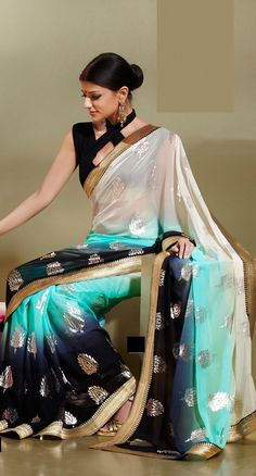 Aqua Blue And Black Chiffon Party Wear Saree 15897 With Unstitched Blouse