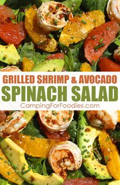 So many people think healthy = bland and boring food. This Avocado Spinach Salad With Grilled Shrimp is anything but that! Cold citrus, avocado and spinach contrast beautifully with the warm shrimp! Get more camping tips and RV hacks from CampingForFoodies. #camping #camp #RV #tips #hacks #CampingForFoodies #recipes #meals #food #cooking #grill #stove #campstove #campfires #lunch Avocado Spinach Salad, Shrimp Avocado, Camping Salads, Camping Tips, Shrimp Marinade, Grilled Shrimp, Cooking Grill, Rv Tips, Rv Hacks