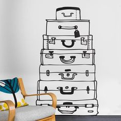 Suitcases Wall Sticker Decals.