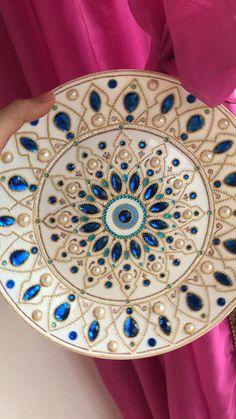 Mandala Drawing, Mandala Painting, Mandala Art, Indian Mandala, Painted Ceramic Plates, Ceramic Wall Art, Decorative Plates, Blue Wall Decor, Diy Wall Decor