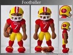 crochet pattern, amigurumi - footballer - pdf, English or German