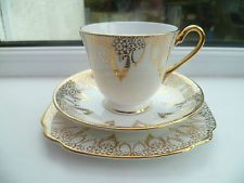 Lovely Vintage Windsor China Trio Tea Cup Saucer Plate Gilded 1248