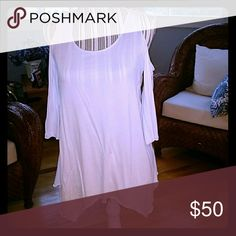 Boston Proper Cold Shoulder Top Boston Proper White Cold Shoulder Top. Sleeves are 3/4. Received as a gift and never worn. Still has tags. Size XXS. Runs big. Boston Proper Tops Tunics