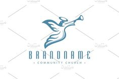 For sale. Only $29 - alert, sound, music, flying, artistic, angel, halo, wings, Christian, event, warning, messenger, Bible, announcement, judgment, apocalyptic, trumpet, archangel, song, melody, herald, harbinger, church, charity, community, blue, heaven, divine, holy, hope, logo, design, template,